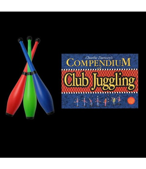 3 x PX3 Moulded Flouro Pirouette Club & The Compendium of Club Juggling Book
