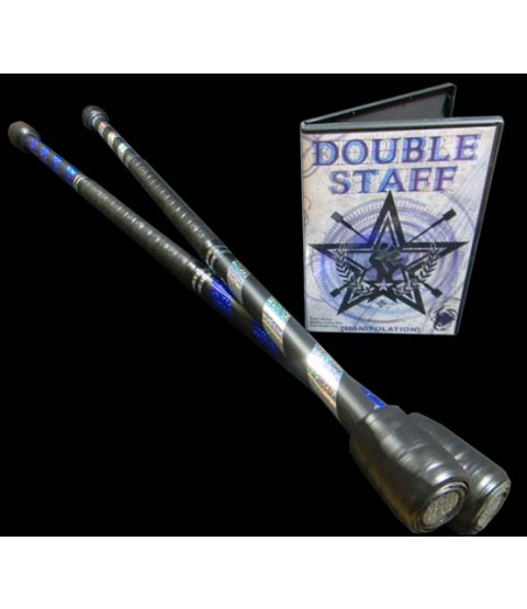 2 x Flames n Games 1 metre practice staffs and Double Staff Manipulation DVD