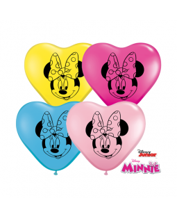 "Qualatex 6"" Minnie Mouse Heart Balloons"