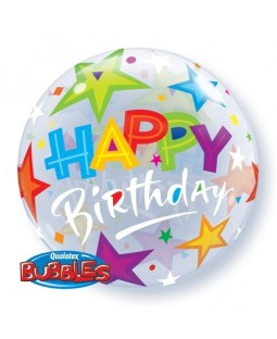 "Qualatex 22"" Bubble Balloons 'Brilliant Stars' Birthday (various)"